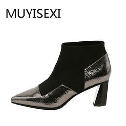 guns shoes Promo Codes - Gun Metal Women Ankle Boots Slip-On 6 cm High Heels Genuine Leather + Stretch Fabric Pointed Toe Shoes Black White X053 MUYISEXI