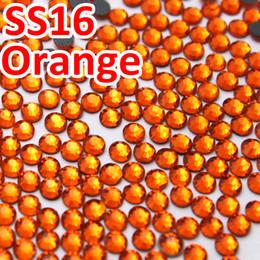 2019 pietre arancioni SS16 3.8-4.0mm, 1440pcs / Bag Orange DMC HotFix FlatBack Strass, Calore trasferimento caldo fai-da-te indumento di ferro pietre di vetro pietre arancioni economici