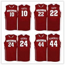 77adcd1ad63 Cheap custom #10 Nigel Hayes 15 Sam Dekker #24 Bronson Koenig #44 Frank  Kaminsky #22 Ethan Happ Wisconsin Badgers College Basketball Jersey