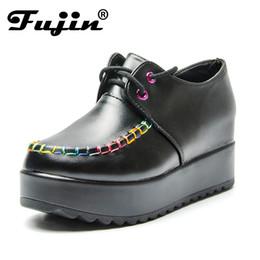 Vestidos de tacón de colores online-Designer Dress Shoes Fujin Casual Women Colored lace Pu Leather Platform Wedge Heels 7.5cm Summer Sneakers Zapatillas Mujer Black