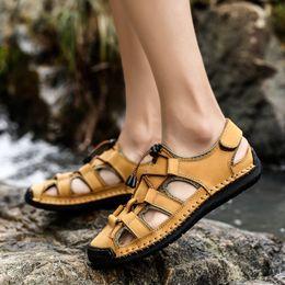2019 taille 11 sandales dorées Sandales pour hommes 2019 Sandales de plage pour hommes 2019 Eté Grandes chaussures de plein air pour hommes Grandes chaussures de ville romaines, Plus la taille 11 12 Chaussures de wading dorées taille 11 sandales dorées pas cher