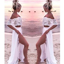 petali di ragazza di fiore nero Sconti Vestito da sera lungo a due pezzi bianco promozionale Vestito da sera in pizzo off-spalla 2019 Vestito da partito formale da donna a spacco laterale sexy