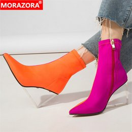 Cunei trasparenti online-MORAZORA 2020 stivaletti donna nuovi arrivi colori misti Calzini elastici stivali con zeppa trasparenti zeppe scarpe eleganti da donna