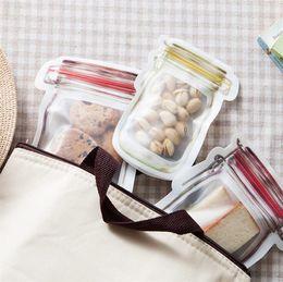 Bolsas de almacenamiento selladas online-Cremallera Bolsas de almacenamiento de alimentos Resuable Mason Jar Snacks en forma de galletas Contenedor de almacenamiento de alimentos Bolsa de dulces Sello hermético para bolsas de organizador de cocina