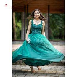 vestidos de graduación verde esmeralda Rebajas Emerald Green Tulle Prom Dresses Sweetheart Appliques con cuentas Impresionantes vestidos de fiesta A-Line Backless Graduation Party Wear