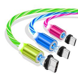 Micro usb magnetisch online-1m 3ft 2A Schnelllade LED-Glühen Magnetic Typ c Micro-USB-Kabel 360 Grad Kabel für Samsung-S8 S9 S10 Htc lg Fließende