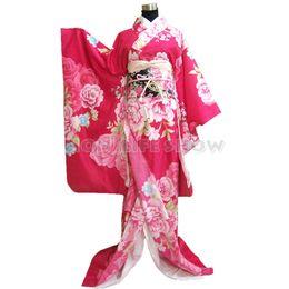 traje de kimono rosa Rebajas Tradicional japonés Furisode Rose Pink Kimono vestido de dama floral Cosplay