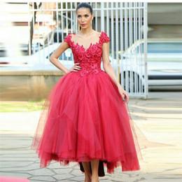 Verkauf gekleidet saudi arabien online-Saudi-Arabien Kleider 2019 Vestido De Festa Longo Verkauf Red Ballkleid Abendkleid bodenlangen Abendkleider mit Applikationen