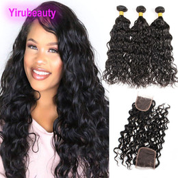 malásia onda de água encerramento Desconto Malaysian Virgin Cabelo pacotes com 4X4 Lace Encerramento Water Wave Pacotes com fecho Oriente gratuito Three 4 Pieces / lot Natural Color Water Wave