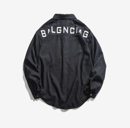 camisas de jean preto Desconto Tops Mens Carta Designer Impresso Camisas Denim Do Vintage Slim Fit Lavado Manga Comprida Preto de um-bolso de Algodão Jeans Casual camisa S04203