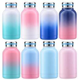 termo para niños botella de agua Rebajas 300 ML Niños gradiente Copa Termo Al Aire Libre Vaso Deporte Portátil Taza de Cerveza de Color Caramelo de Acero Inoxidable Taza de Café Botella de Agua LJJA2373