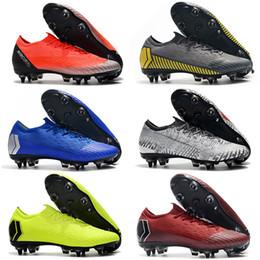 2019 New High Ankle Scarpe da calcio Calza Mercurial Superfly VI SG ACC Soccer Boots Scarpe da ginnastica Mens Leather Soccer Cleats All Black Con