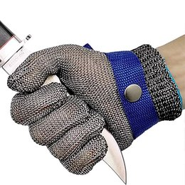 Guantes de metal carniceros online-DHL libera por corte guantes resistentes de acero inoxidable de malla de alambre de metal carnicero Seguridad en el Trabajo Guantes de corte de la cocina que rebana de cortar Peeling M972F