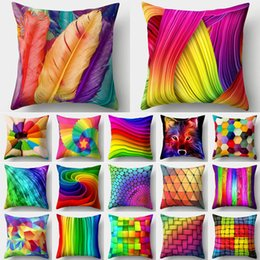 yellow black white cushion covers Coupons - Rainbow Pillow Case Cushion Cover Cushion Colorful Geometric Feather Polyester Decor for Home Car Sofa Pillow Cover
