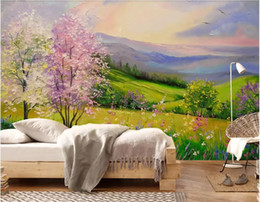photo sticker wall Coupons - 3d wallpaper custom photo Mural background Beautiful oil painting peach landscape Grass tree background wall sticker art canvas pictures