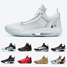 Леопардовые кроссовки мужчины онлайн-Nike Air Jordan Retro Stock X Black Cat 34 mens basketball shoes CNY Snow Leopard Infrared 23 Amber Rise Blue Void Eclipse 34s men sports designer sneakers