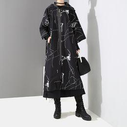 japanischer graben Rabatt Johnature Japanische Lose Frauen Lange Trenchcoats Harajuku 2019 Neue Frühling Original Print Mit Kapuze Reißverschluss Frauen Mäntel