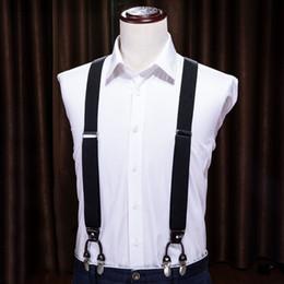Hi-Tie 3.5 * 125 cm bretelle di moda in vera pelle 6 clip brace maschile vintage casual da sposa partito cinturino cinturino regalo del marito bh-1005 da