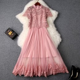 2019 le camicette estive delle ragazze si vestono Le donne ragazze carino maglia vestito di colore rosa scavano fuori top e camicette di pizzo + vestito cinghia spaghetti nuova primavera estate 2019 le camicette estive delle ragazze si vestono economici