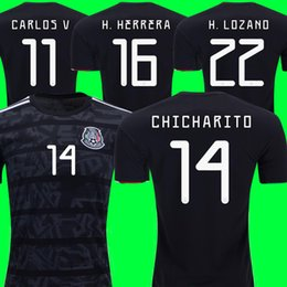 b796fba893131 MEXICO SOCCER JERSEY 2019 GOLD CUP kits 2018 2019 Black away soccer shirt  CHICHARITO LOZANO DOS SANTOS VELA RAUL camisetas de futbol Female KIDS  football ...