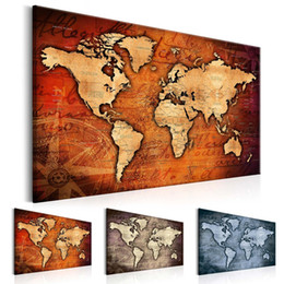 canvas art hd prints Promo Codes - 1 Panel Large HD Printed Canvas Print Painting Retro World Map Home Decoration Wall Pictures for Living Room Wall Art on Canvas(Multicolor)N