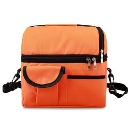 Grandes sacos isolados on-line-2019 saco de Acampamento Adulto Lunch Box Isolados Lunch Bag Sacola Grande Cooler para Homens, Mulheres, Double Deck Cooler (Black)