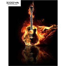 Argentina ZOOYA DIY 5D Diamante redondo completo Pintura bordado Diamante Mosaico guitarra fuego Punto de cruz Decoración para el hogar supplier x guitars Suministro