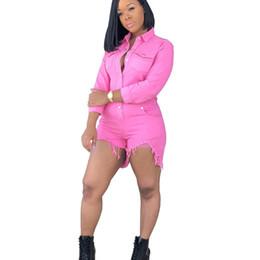 Macacão curto rosa on-line-Mulheres Sexy Jeans Curto Playsuits Para Feminino Rosa Moda Vintage Fino Longo Denim Macacão Macacões Shorts XXL
