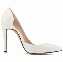 Scharfe high heels online-Frauen Pumps Fashion Classic Lackleder High Heels Schuhe Nackt Sharp Head Paltform Hochzeit Frauen Kleid Schuhe Plus Größe 35-42