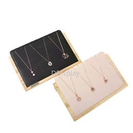 Plateaux d'affichage en bois en Ligne-[DDisplay] Présentoir à bijoux en bois massif de style Muji, collier en cuir noir, plateau de rangement, pendentif en velours beige, présentoir à bijoux