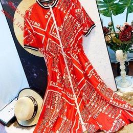 Марка женщины летние платья красный круглый вырез письмо с коротким рукавом шелк тонкий zip платье дамы повседневные платья высокое качество женская одежда AM-8 cheap silk red dress for women от Поставщики шелковое красное платье для женщин
