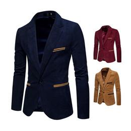 Homens casacos coloridos on-line-Pop2019 Padrão Desgaste Dos Homens Homem Corduroy Cor Correspondência Legal Tempo Pequeno Terno Solto Casaco Jaqueta X03