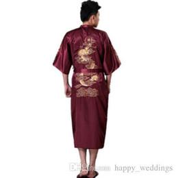 Argentina Alta calidad Borgoña chino tradicional para hombre de seda traje de satén bordado Kimono Kimono Yukata vestido de baño más tamaño cheap plus size yukata Suministro