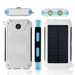 2019 carregador solar banco laptop Lanterna portátil Carregador Solar à prova de choque À Prova D 'Água À Prova de Chuva Banco de Potência Carregador de Telefone Móvel com bússola 2 porta usb
