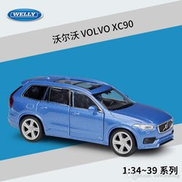 Высокая имитационная модель автомобиля онлайн-WELLY Diecast Car Model Toys, VOLVO XC90 SUV, 1: 36 High Simulation with Pull Back, Kid Birthday Christmas Gifts, Collecting, Home Decoration