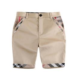 Cotton clothing on-line-Crianças Verão Xadrez Calças Baby Boy Xadrez Shorts Meninos Algodão Cinco-ponto Calças Treliça Crianças Roupas de Grife Meninos Calças