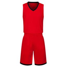Печать на баскетбольном трикотаже онлайн-2019 новые пустые трикотажные изделия баскетбола напечатаны логотип мужские размер S-XXL дешевая цена быстрая доставка хорошее качество красный черный RB011