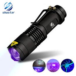 2019 mini linternas led Linterna UV Luz de la antorcha Luz ultravioleta Luz negra Lámpara UV Batería AA para el marcador Comprobador de detección SK68 mini linternas led baratos