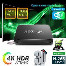 Iptv arabic hd on-line-2019 Mais Barato S10 MINI CAIXA de TV 2 GB 16 GB Quad Core Amlogic S905W Android 8.1 caixa de TV Árabe IPTV Media Player P MXQ PRO TX3 X96 MINI