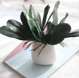 Piante di fiori di orchidee online-1 Pz Phalaenopsis foglia pianta artificiale foglia fiori decorativi materiale ausiliario decorazione floreale Foglie di orchidea