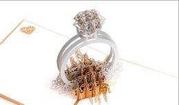 Carte fatte a mano per gli amanti online-1PCS Gold Laser Cut 3d Diamond Ring Pop Up inviti di nozze Romantico fatto a mano di San Valentino per la cartolina regalo di auguri amante
