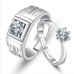 toque para homens ct Desconto Anéis de casamento conjuntos de jóias de prata esterlina 925 anéis de designer de luxo jóias casal anel de cristal de tamanho aberto configuração NE972-1