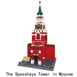 famous blocks Coupons - Diamond Blocks World Famous Architecture Moscow Spasskaya Tower Mini 3D Model Building Blocks DIY Assembly Bricks Toys