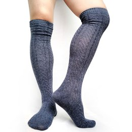 мужские носки Скидка Thick Knit Men Stocking Boot Socks Over the Knees Sexy Warm Winter Long Socks for Male Striepd Formal Business Men Hose