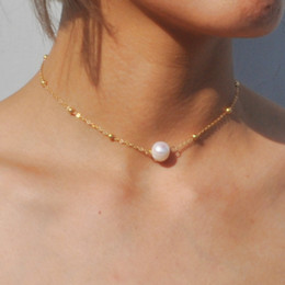 ожерелье аксессуары для женщин Скидка Fashion Ladies Necklace Women's Single Pearl Gold Alloy Necklace 7-8mm Freshwater Cultured Jewelry Accessories Collier Femme