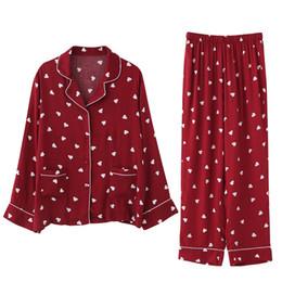 Pijamas mulheres primavera e outono novo algodão desgaste solto de mangas compridas calças de duas peças doce amor serviço de casa terno de Fornecedores de pele leve sexy