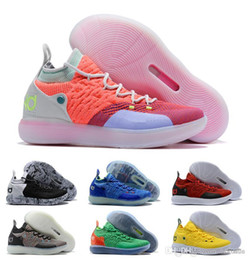 3ab3ed43856 2019 KD 11 Shoes Black Grey Persian Violet Chlorine Blue Sneakers Kevin  Durant 11s Designer Mens Trainers Shoes .