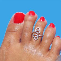 Doppel-finger-legierung ring online-1 stücke Großhandelslose Groß Geometrische Legierung Kreative Unisex Gold Silber Farbe Doppel Herz Ringe für Frauen Männer Finger Zehenringe
