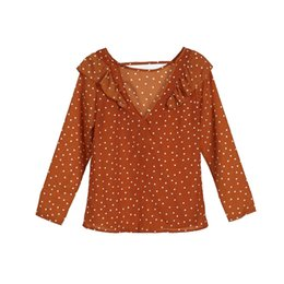 Argentina Moda mujer camiseta de verano Lotus Leaf Edge Polka Dot V-Back Top manga larga suelta Camiseta Casual Señoras Tops Chaleco Sólido recién cheap lady vest long sleeve Suministro