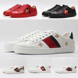 2020 design estelar calçado casual ECA Shoes Moda Itália Preto Branco Vintage Flats Couro Casual Shoes Red Green Stripes Estrela cobra Tiger Luxury Design plataforma Bee Sneaker design estelar calçado casual barato